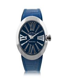 Locman Designer Women's Watches, Change Blue Stainless Steel Oval Case Women's Watch w/3 Leather Straps