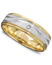 Macy's Men's 14k Gold and 14k White Gold Ring, Wave Engraved Band