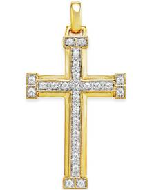 Macy's Men's Diamond Cross Pendant (3/8 ct. t.w.) in 10k Gold
