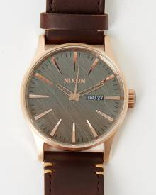 Nixon - The Sentry Leather - Watches (Rose Gold, Gunmetal & Brown)