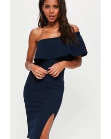 Missguided One Shoulder Frill Split Midi Dress