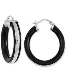 Macy's Onyx Hoop Earrings (26 ct. t.w.) in 14k Gold