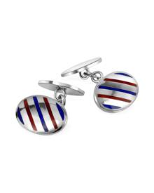 Forzieri Oval Striped Sterling Silver Double Sided Cufflinks