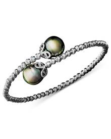 Macy's Pearl Bracelet, Sterling Silver Cultured Tahitian Pearl (9mm) and Sparkle Bead Cuff