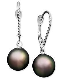 Macy's Pearl Earrings, 14k White Gold Cultured Tahitian Pearl Drop Earrings (8mm)