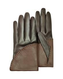 Pineider Designer Women's Gloves, Women's Two-Tone Brown Short Nappa Gloves w/ Silk Lining