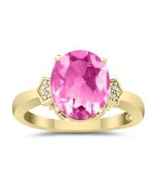 Pink Topaz & Diamond Ring in 10k Yellow Gold
