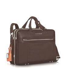 """Piquadro Designer Briefcases, Link - Double Handle 15"""" Laptop Expandable Case"""