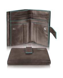 Piquadro Designer Wallets, Blue Square - Women's Leather Card Holder & ID Wallet