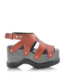 Proenza Schouler Designer Shoes, Nappa Leather Sandal w/Optical Print Wedge