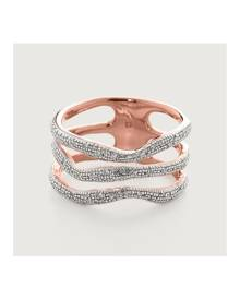 Monica Vinader Rose Gold Riva Diamond Wave Triple Ring Diamond
