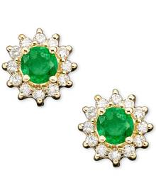 Effy Collection Royalty Inspired by Effy Sapphire (5/8 ct. t.w.) and Diamond (1/4 ct. t.w.) Stud in 14k White Gold(Also Available in Emerald)