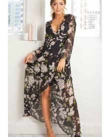 Showpo Autumn Falls maxi dress in black floral - 10 (M) Maxi Dresses
