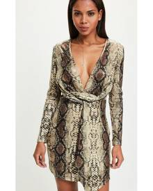 Missguided Snake Wrap Front Dress
