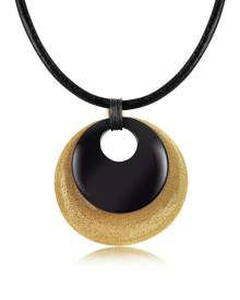 Stefano Patriarchi Designer Necklaces, Etched Golden Silver and Onyx Round Pendant w/Leather Lace