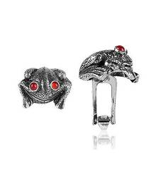 Forzieri Exclusives Sterling Silver and Cornelian Frog Cufflinks
