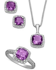 Macy's Sterling Silver Jewelry Set, Cushion Cut Amethyst Pendant, Earrings and Ring Set (4-1/3 ct. t.w.)