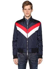 DSQUARED2 Striped Nylon Bomber Style Down Jacket