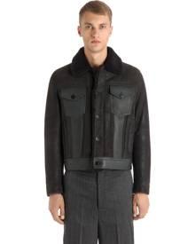 NEIL BARRETT Suede & Leather Jacket W/ Shearling
