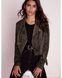 Missguided Suede Long Sleeve Biker Jacket Khaki