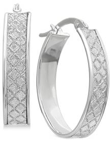 Macy's Textured Glittery Hoop Earrings in 14k Gold, White Gold or Rose Gold