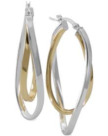 Macy's Two-Tone Twisted Hoop Earrings in Sterling Silver and 14k Gold-Plate