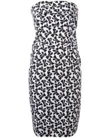 Yves Saint Laurent Vintage - bow print strapless dress - women - Cotton - 38 - WHITE