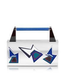Avril Ziggy Two Faces Palladium Plated Brass and Viscose Clutch